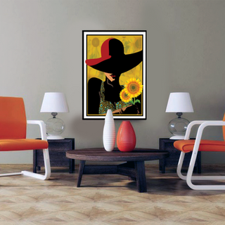 Sunflower and Woman in Red Hat