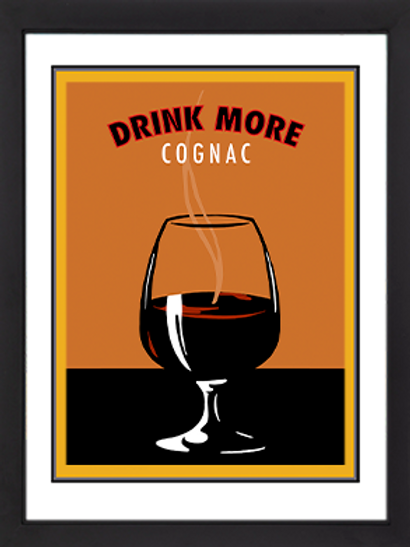 Drink More Cognac Framed 18 x 24""