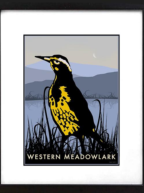 "Framed 11 x 14"" Western Meadowlark"