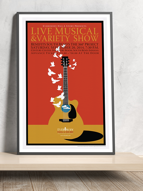 Guitar Doves, 2014 Everybody Has A Story Poster - Framed
