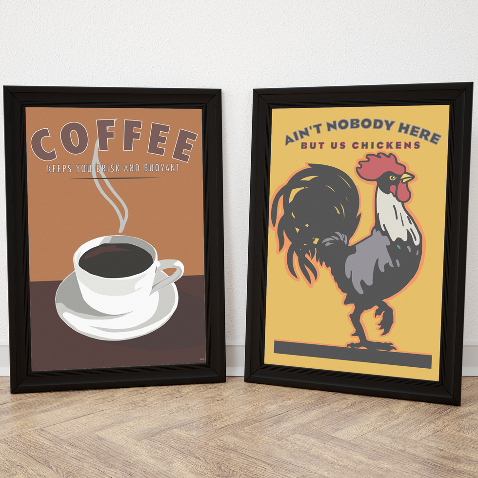 Rooster and Coffee Prints-Framed