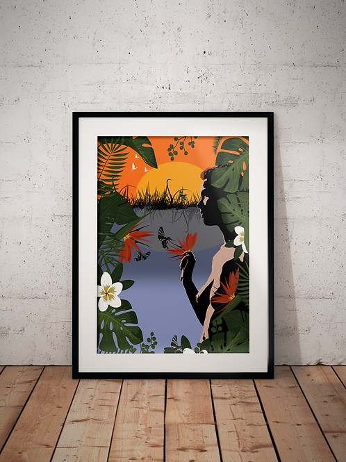 Woman with Hummingbirds-Framed