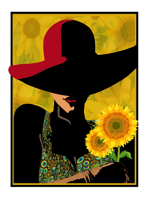 Woman with Red Hat and Sunflowers