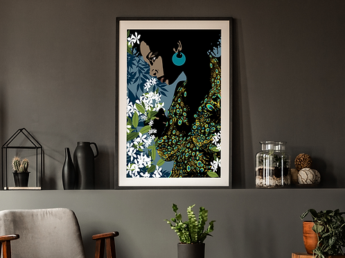 Woman with Colorful Dress and Jasmine-Framed