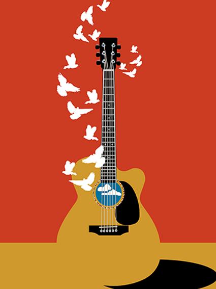 Guitar Doves, Art on Canvas