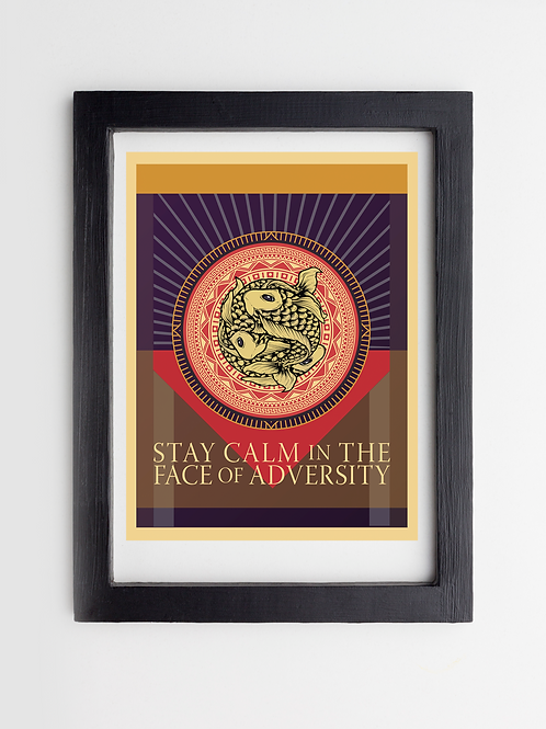 Koi, Stay Calm in the Face of Adversity, Framed