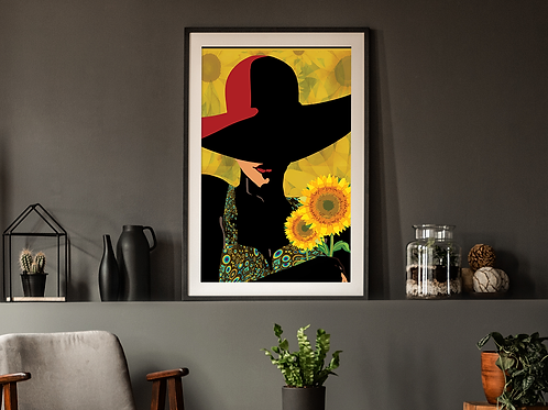 Woman with Red Hat and Sunflowers-Framed