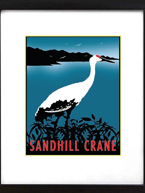 """Framed 11 x 14"""" Sandhill Crane"""