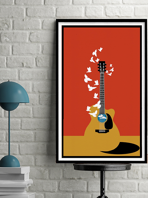 Guitar Doves Original Digital Serigraph