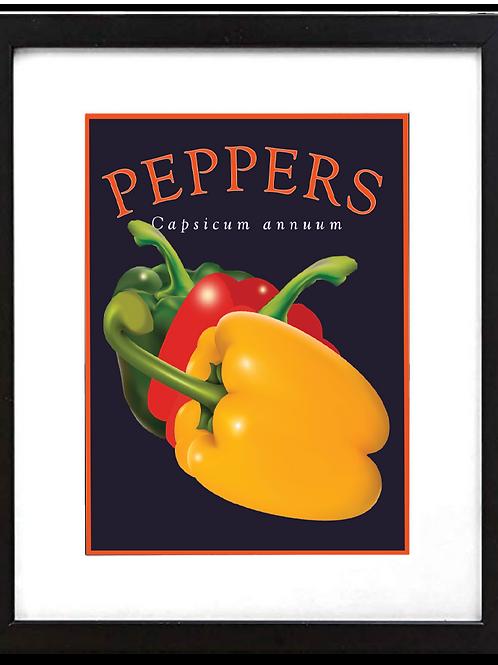 "Framed 11 x 14"" Peppers Print"