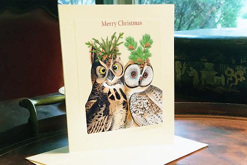 Merry Christmas Festive Owls