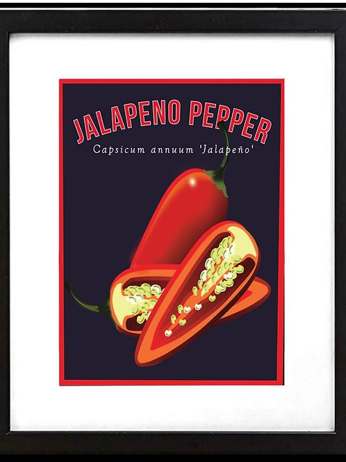 """Framed 11 x 14"""" Jalapeno Pepper Print"""