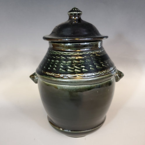 "8"" x 5"" Porcelain Black Lidded Jar"