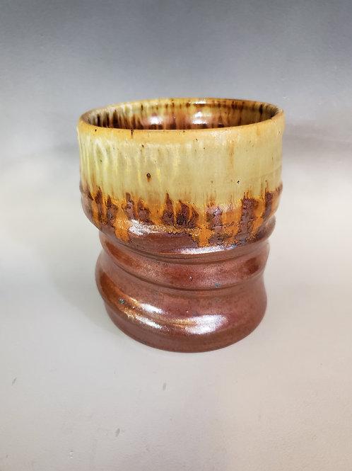 Rusty Red Stoneware Vase with crystal matt glaze.
