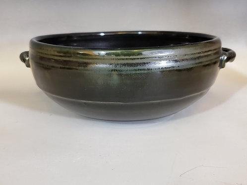 "10"" x 4"" Black Ash Glazed Porcelain Bowl"