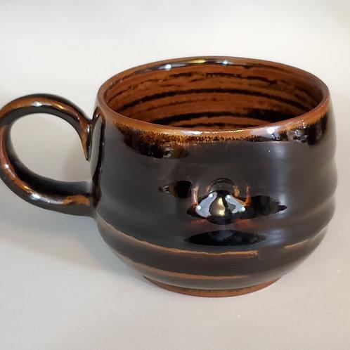 """3.5"""" x 4"""" porcelain cup with tenmolu glaze."""