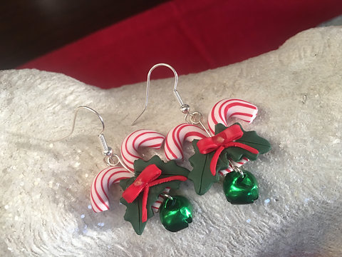 Polymer Clay Christmas Earrings.Peppermint Candy With Red Bell Earrings Polymer Clay Christmas Gift