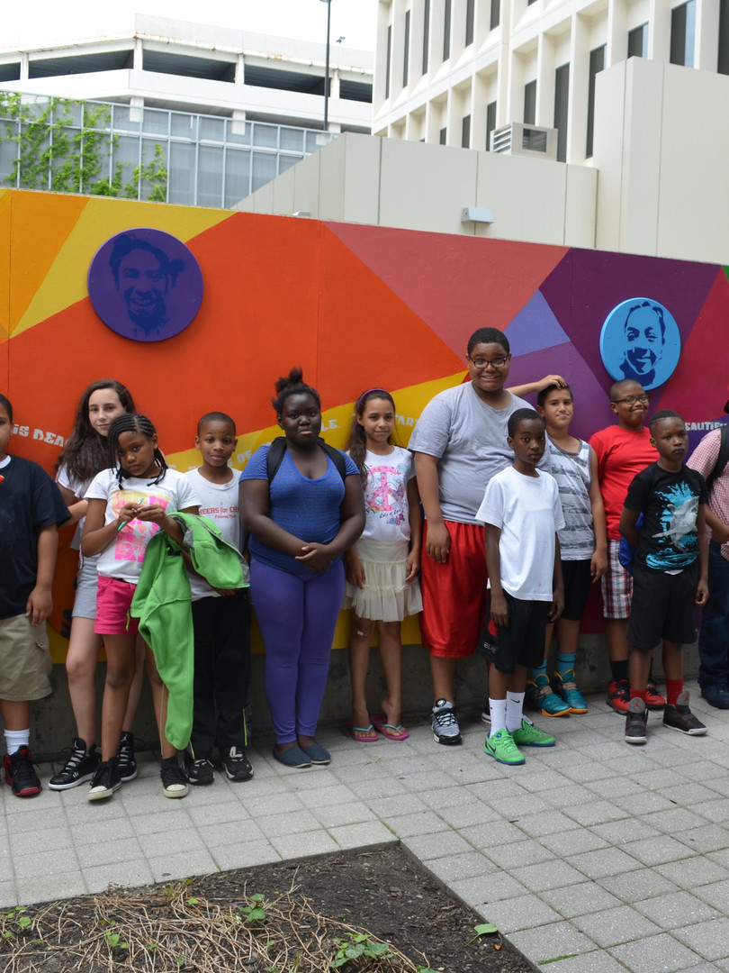 Tech Square Mural-Kids in front of mural