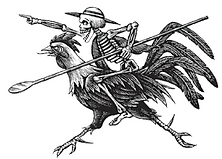 Skeleton Riding a Chicken