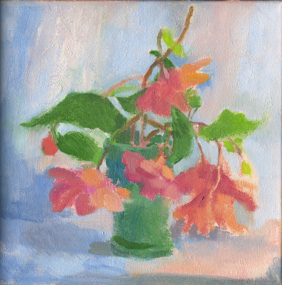 Begonias in a Blue Green Vase