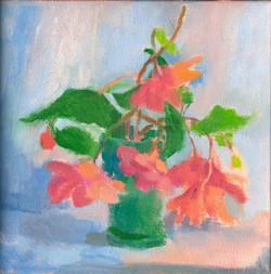 Begonias in a Blue Green Vase