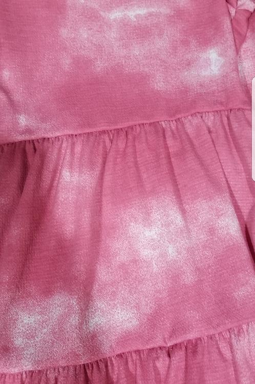 Kids 3 tiered dress pink tie die