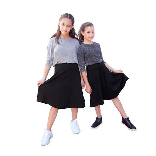 Girls black(ponty) a line skirts