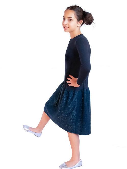 Girls navy chenille dress