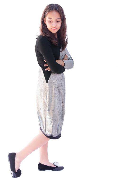 Girls Grey velvet dress