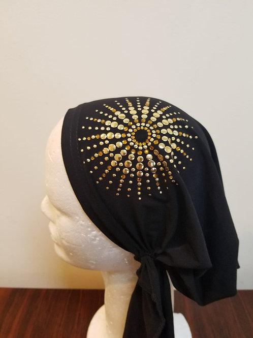 Gold sequin pre tied bandana