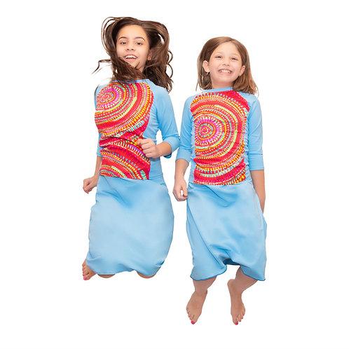 Girls 2 pc swim top and skirt set