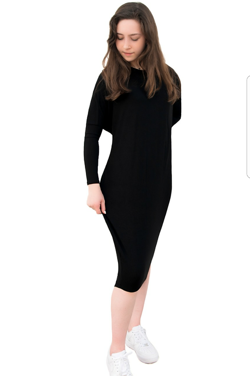 Ladies dolman ribbed dress (generous cut)