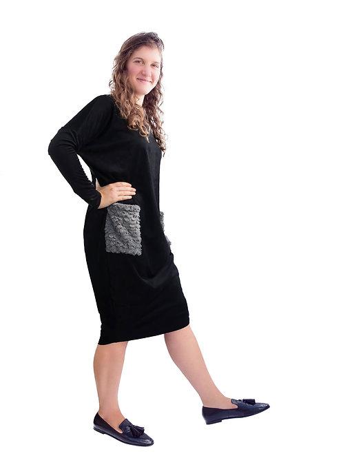 Ladies seude dolman sleeve dress  with pockets(generous cut)