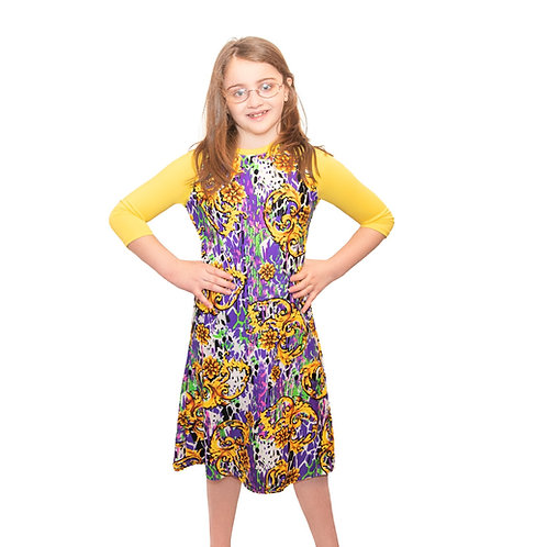 Kids swim cover up purple sleeve