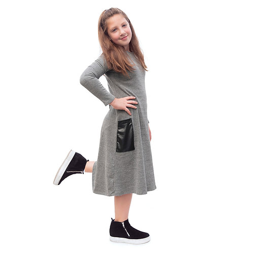 Girls ribbed dress with leather pockets