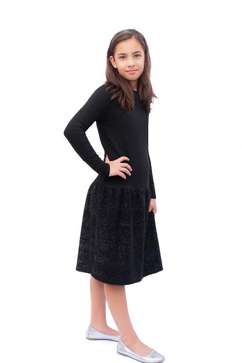 Girls black chenille dress