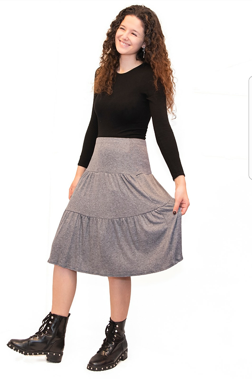 Teen 3 tier gray ribbed skirt