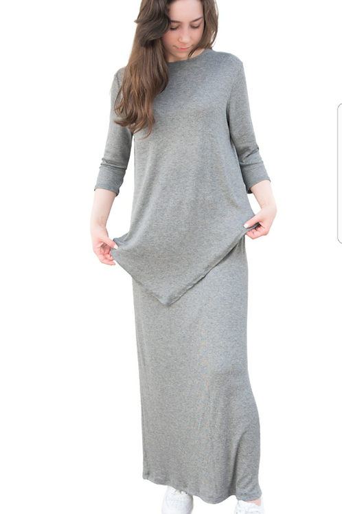 Ladies 3/4 sleeve ribbed set