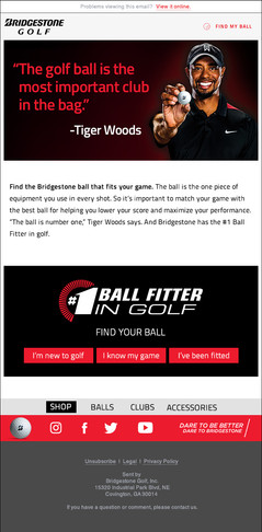 Email campaign touting Bridgestone Golf industry leading ball fitter