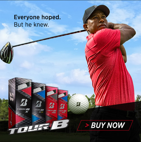 Display ad welcoming Tiger back to the game