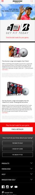 Mobile landing page introducing Bridgestone Golf balls