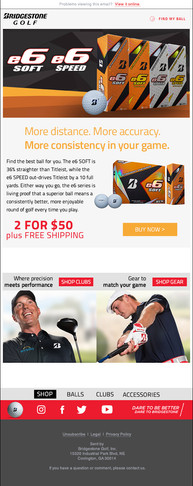 Email campaign highlighting an E6 ball sale