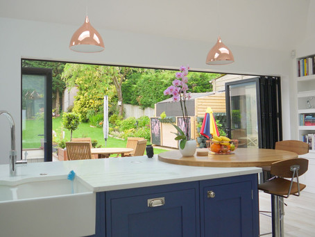 A beautiful indoor - outdoor kitchen in Orpington