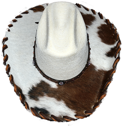 Wester Cowboy Hat with Crystal Hat Band Tan and White Hide Size 7