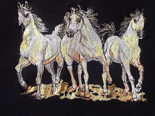 THREE ARABIANS. This is just a sample of the embroiderywe do,