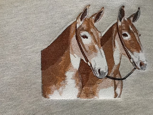 TWO MULES. This is just a sample of the embroidery we do,