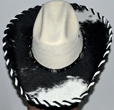Western Cowboy Hat with Cowhide and Crystal Bling Hat Band Size 7 1/8 #32