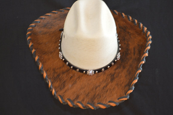 Western Cowboy Hat with Cowhide and Crystal Bling Hat Band   #10  size 7 1/8