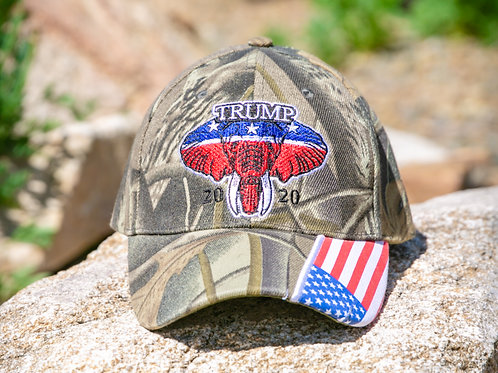 Trump 20/20 with American Flag and Elephant