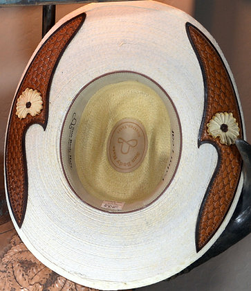 Western Hat Hand tooled, cut leather trim Sunbody Hat Size 6 3/4 #10